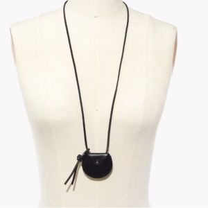 Madewell Black Leather Circle Pouch Necklace